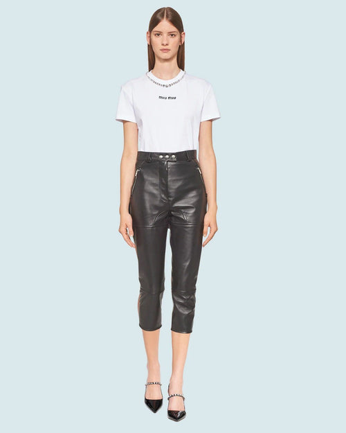 Miu Miu Embroidered Jersey T-Shirt