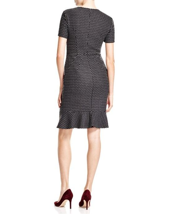 Escada Black Short Sleeve Dot Print Dress