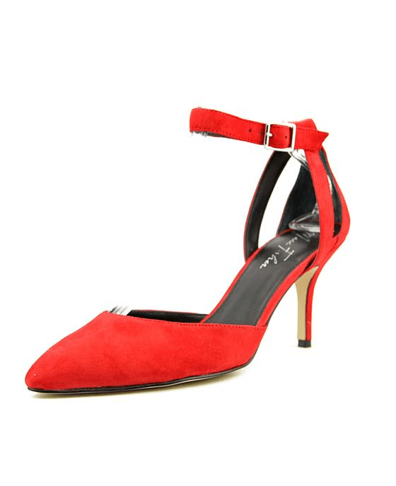 80f9aa78b2cf Marc Fisher Hien Ankle Strap Pumps Red Suede - Fashionbarn shop - 1