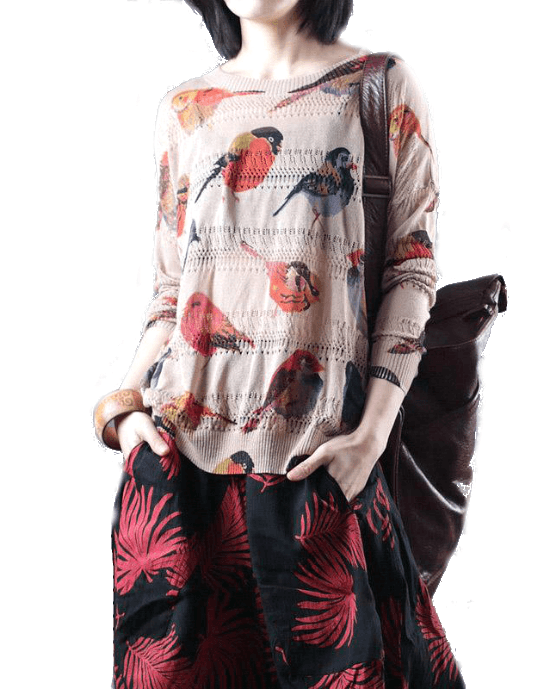 Women's Spring Bird Printing Hollow Knitting Shirt