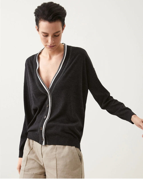 Brunello Cucinelli Cashmere Cardigan With Shiny Contrast Trim