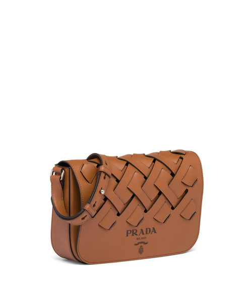 Prada Leather Shoulder Bag With Large Woven Motif