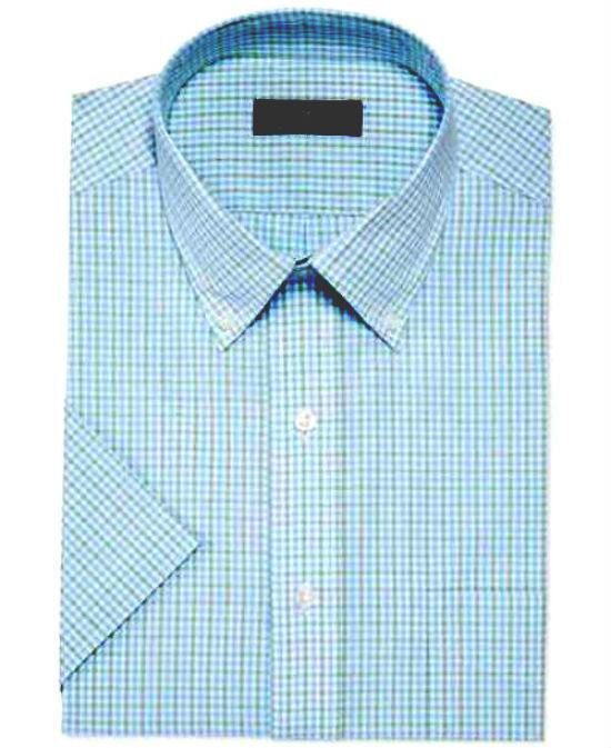 Club Room Sage Blue Gingham Short-Sleeved Dress Shirt-CLUB ROOM-Fashionbarn shop