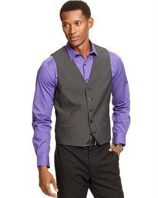 Alfani RED Mid-Grey Stepweave Slim-Fit Vest-ALFANI-Fashionbarn shop