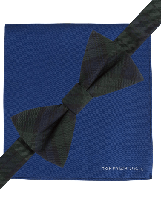 Tommy Hilfiger Black Watch Bow Tie & Solid Pocket Square Set-TOMMY HILFIGER-Fashionbarn shop