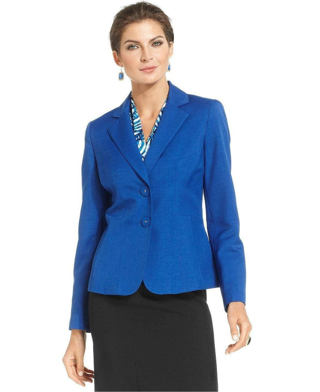 Le Suit Petite Two-Button Crosshatch Blazer - Fashionbarn shop