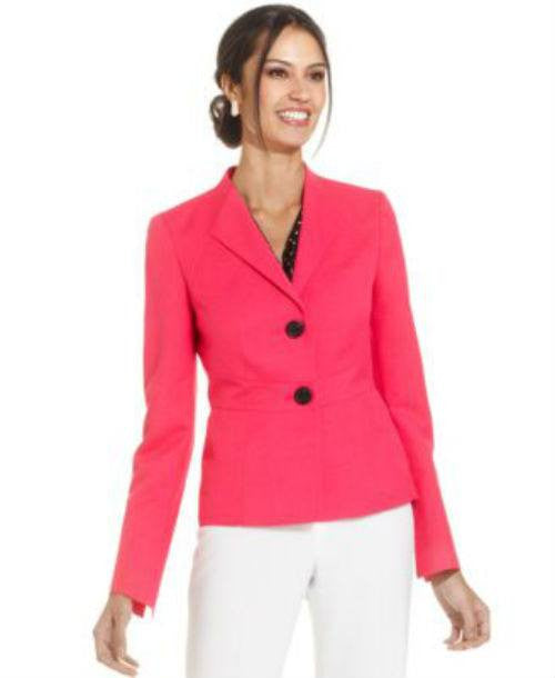 Le Suit Petite Two-Button Melange Blazer-LE SUIT-Fashionbarn shop