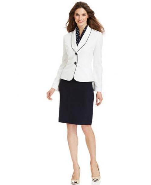 Le Suit Plus Size Winter White Blazer Skirt Suit with Scarf-LE SUIT-Fashionbarn shop