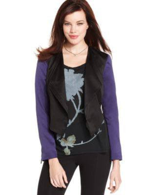 RACHEL RACHEL ROY LONG-SLEEVE DRAPED BLAZER DARK VIOLET 8-RACHEL ROY-Fashionbarn shop