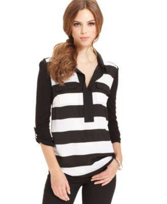 KENSIE THREE-QUARTER STRIPED BLOUSE BLACK XL-KENSIE-Fashionbarn shop