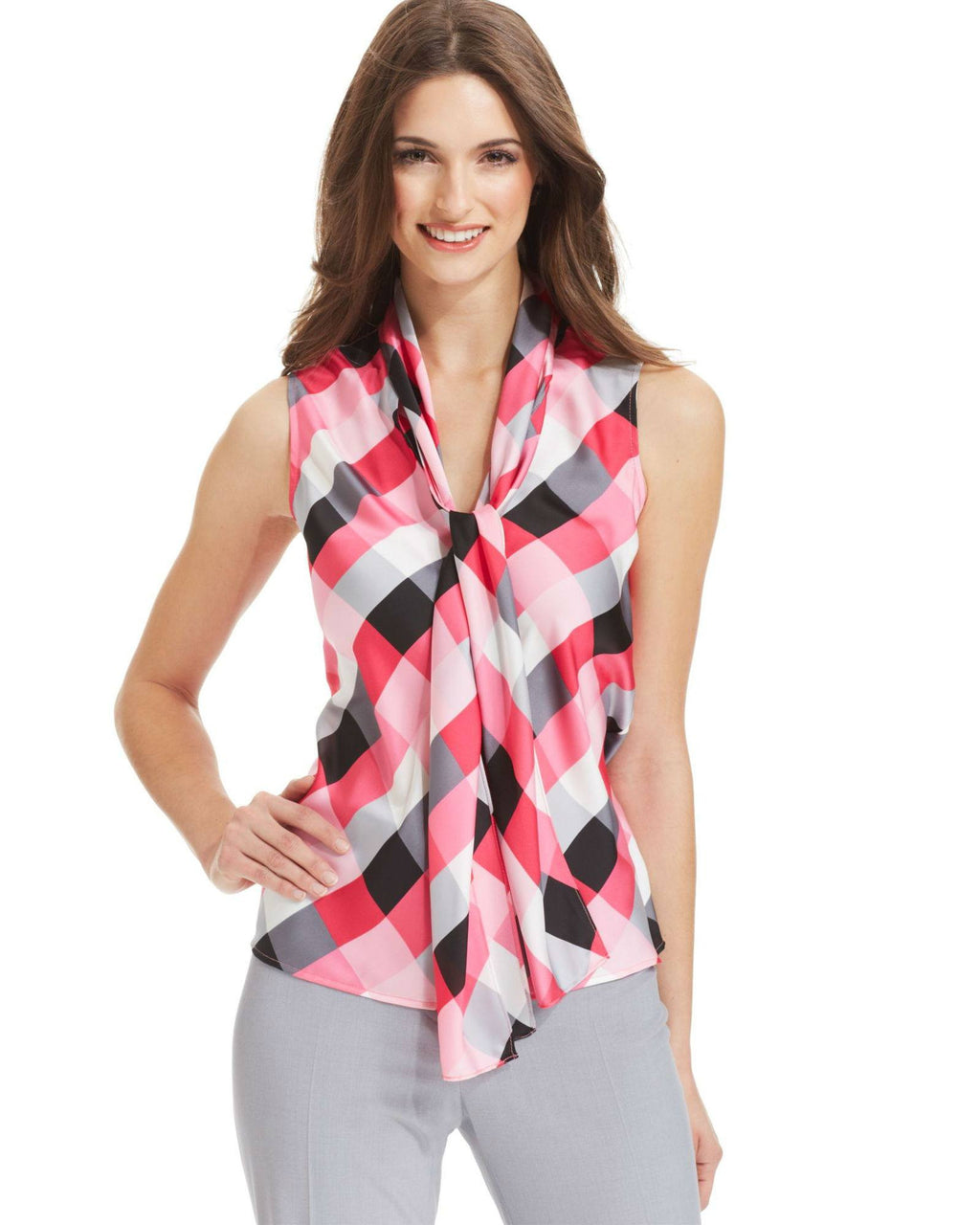 Nine West Printed Sleeveless Tie-Neck Blouse-NINE WEST-Fashionbarn shop