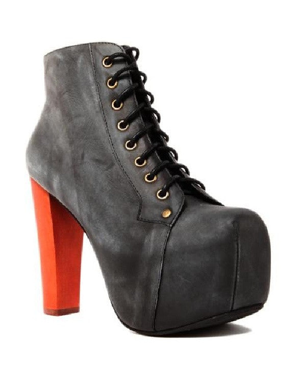 JEFFREY CAMPBELL Lita Suede Grey Suede leather platform booties-JEFFREY CAMPBELL-Fashionbarn shop