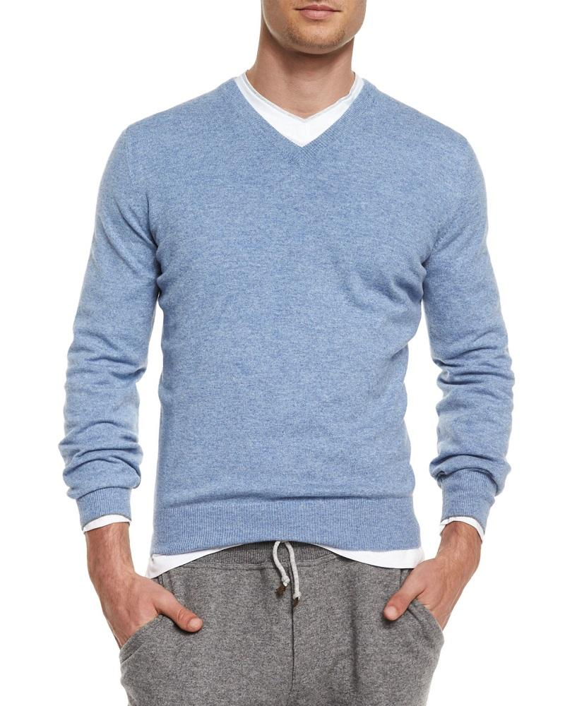 Foxcroft Men's Cashmere Blend V-Neck Sweater