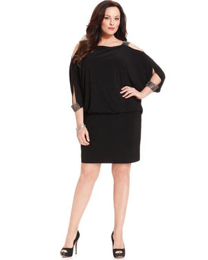 Betsy & Adam Women's Black Plus Size Split-Sleeve Blouson Dress