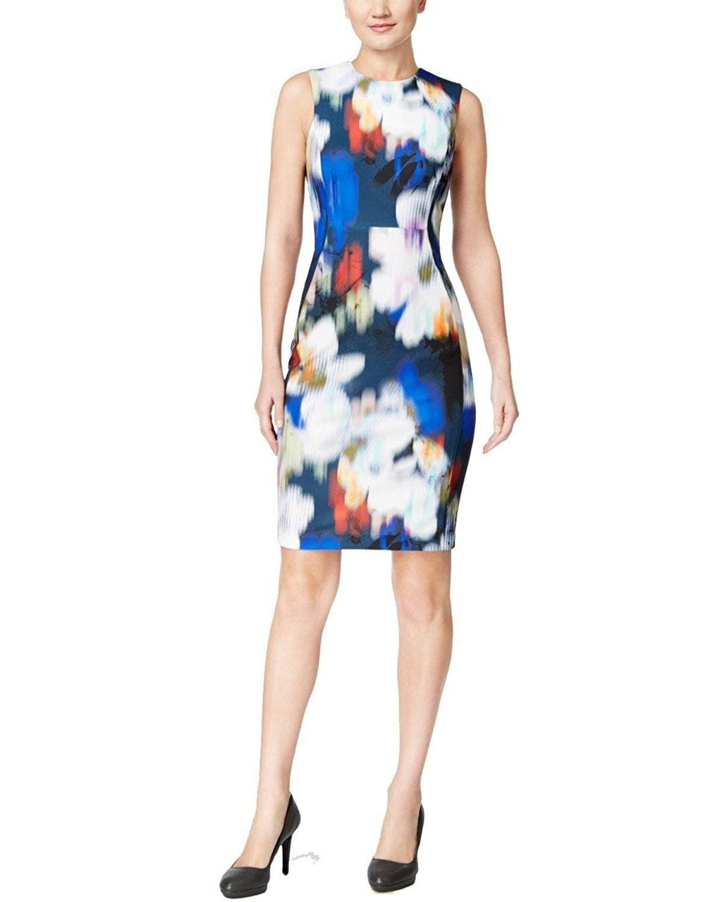 Calvin Klein Women's Blurred Floral Scuba Sheath Dress