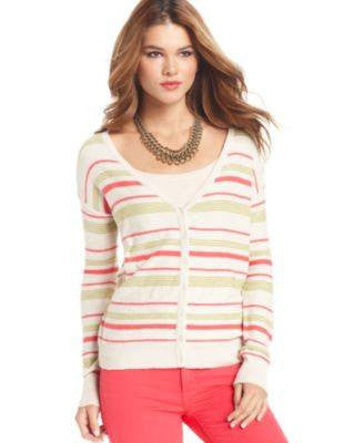 KENSIE LONG-SLEEVE V-NECK STRIPED CAR BIRCH MULTI XS-KENSIE-Fashionbarn shop