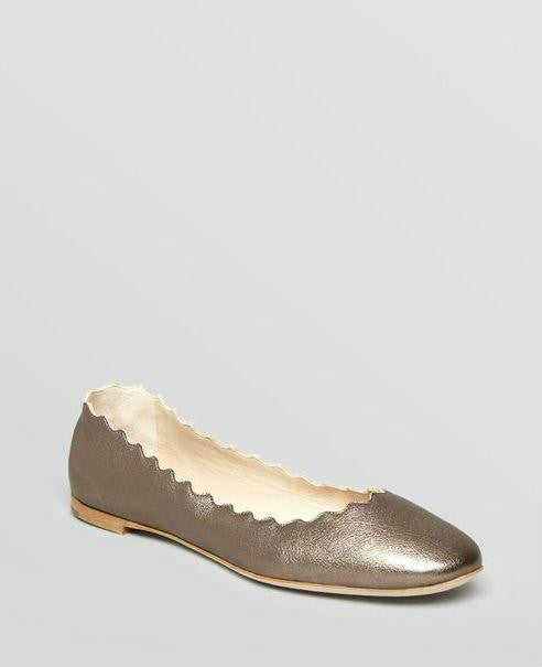 Chloé Women's Metallic Scallop Ballet Flat Platinum Leather - Fashionbarn shop - 1