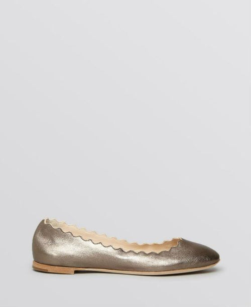 Chloé Women's Metallic Scallop Ballet Flat Platinum Leather - Fashionbarn shop - 2