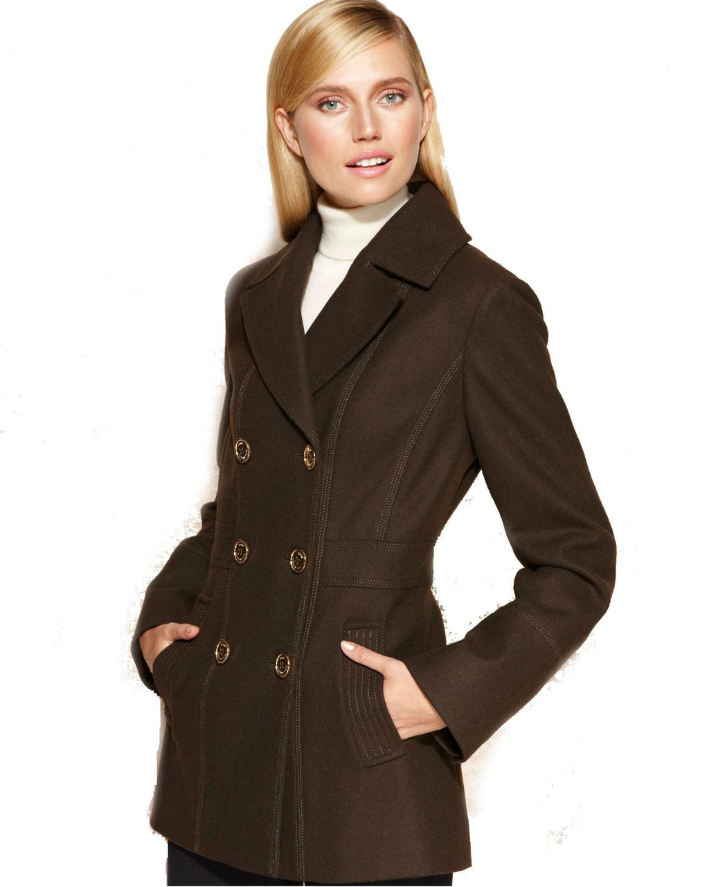 MICHAEL Michael Kors Double-Breasted Wool-Blend Pea Coat-MICHAEL MICHAEL KORS-Fashionbarn shop