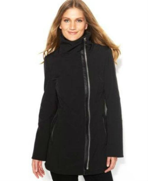 Calvin Klein Coat, Funnel-Neck Faux-Leather-Trim-CALVIN KLEIN-Fashionbarn shop