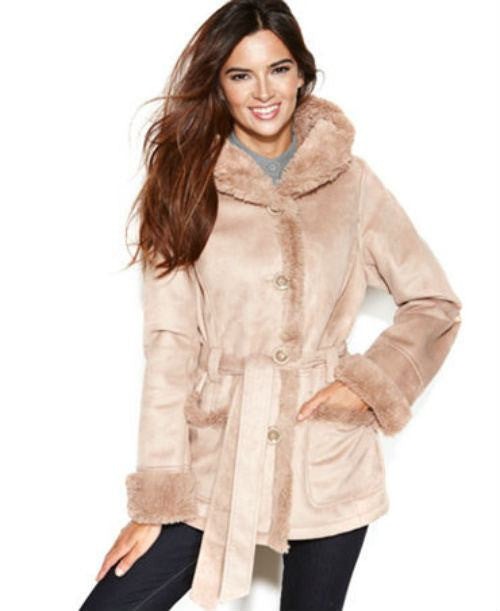 Jones New York Coat, Hooded Belted Faux-Shearling - Fashionbarn shop