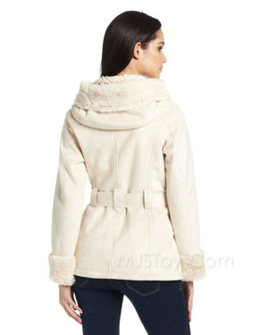 Jones New York Coat, Hooded Belted Faux-Shearling-JONES NEW YORK-Fashionbarn shop
