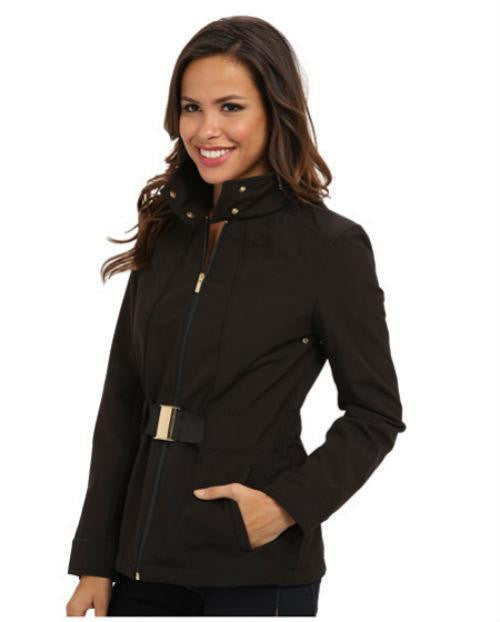 Kenneth Cole Reaction Belted Zip-Front Hooded Soft Shell Coat-KENNETH COLE-Fashionbarn shop