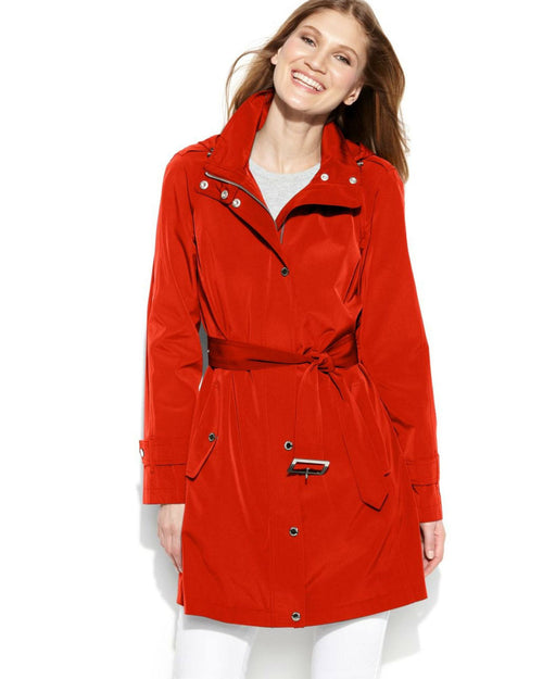 London Fog Petite Hooded Belted Raincoat-LONDON FOG-Fashionbarn shop