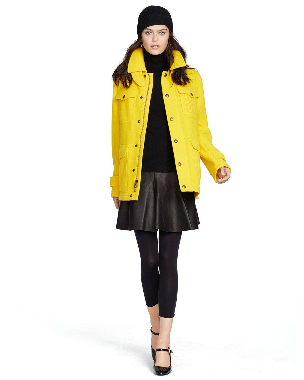 Polo Ralph Lauren Yellow Wool Blend Thicket Coat-LAUREN RALPH LAUREN-Fashionbarn shop