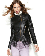 Steve Madden Asymmetrical Faux-Leather Fringe Jacket-STEVE MADDEN-Fashionbarn shop