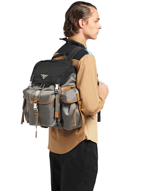 Prada Nylon Backpack, Marble Gray