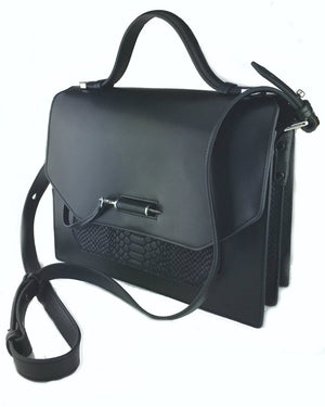MACKAGE Black Leather & Black Suede Croc-Embossed Jori Bag - Fashionbarn shop