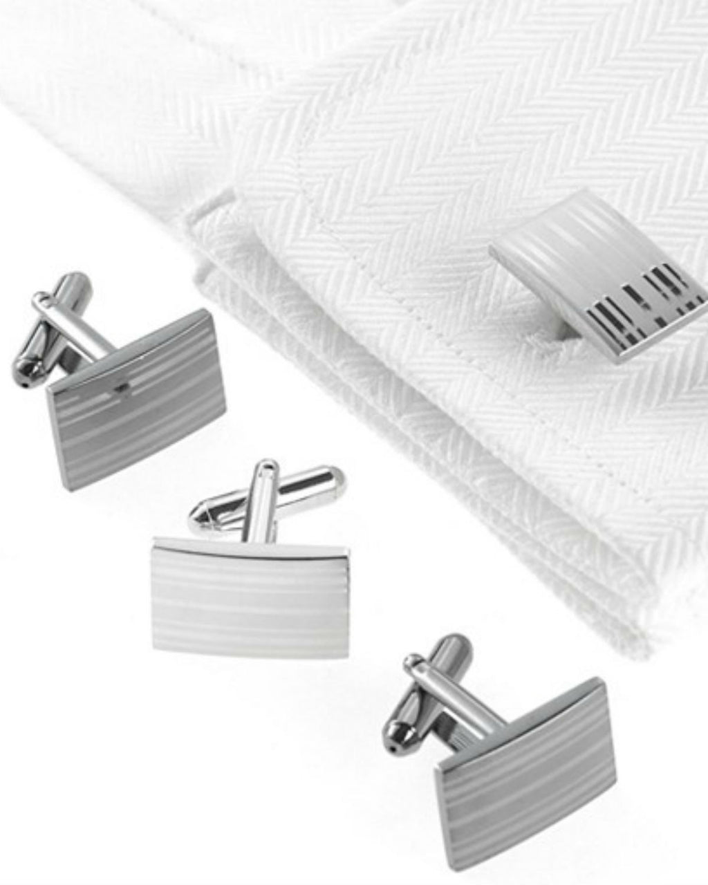Geoffrey Beene Cufflinks, Laser Stripes Boxed Set-GEOFFREY BEENE-Fashionbarn shop