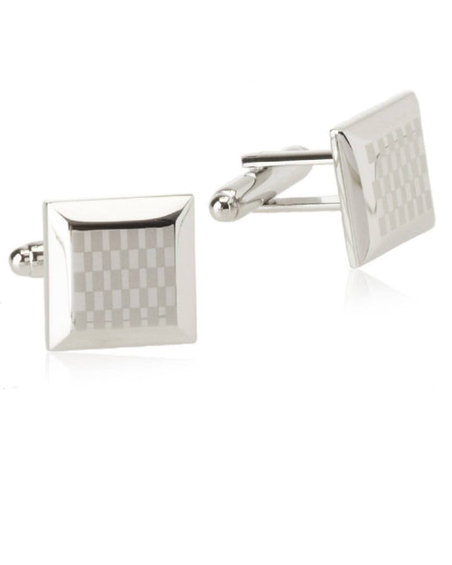 Geoffrey Beene Silver-tone Brushed and Polished Beveled Edge SUIT Cufflinks-GEOFFREY BEENE-Fashionbarn shop
