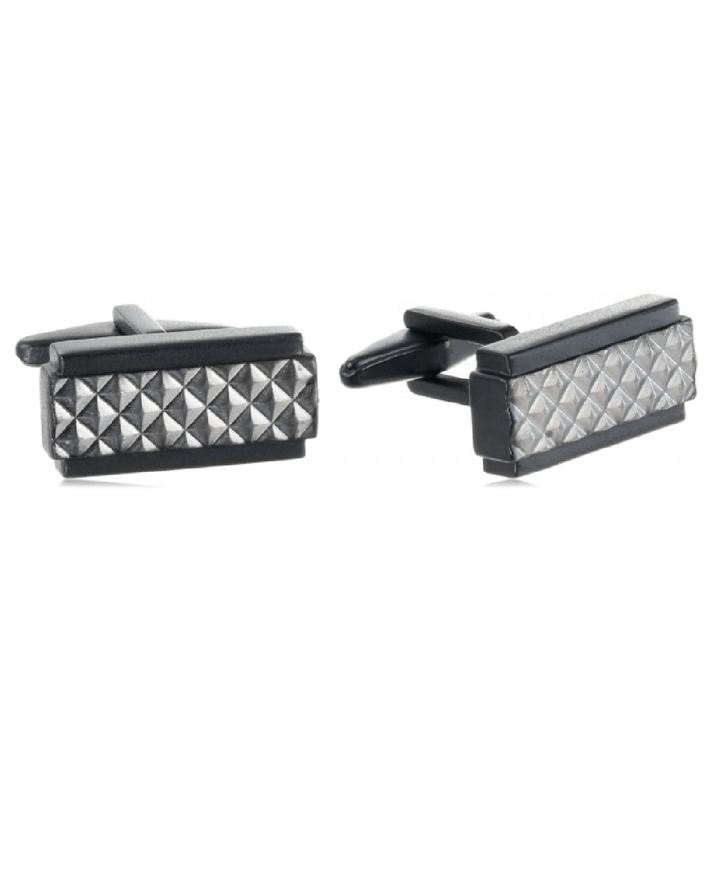 Kenneth Cole Reaction Matte Black Rectangle w/ Brushed Hematite Diamond Cufflinks-Fashionbarn shop-Fashionbarn shop