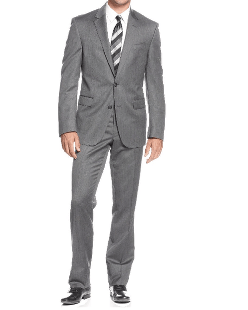 Kenneth Cole New York Slim-Fit Charcoal Sharkskin Suit-KENNETH COLE-Fashionbarn shop