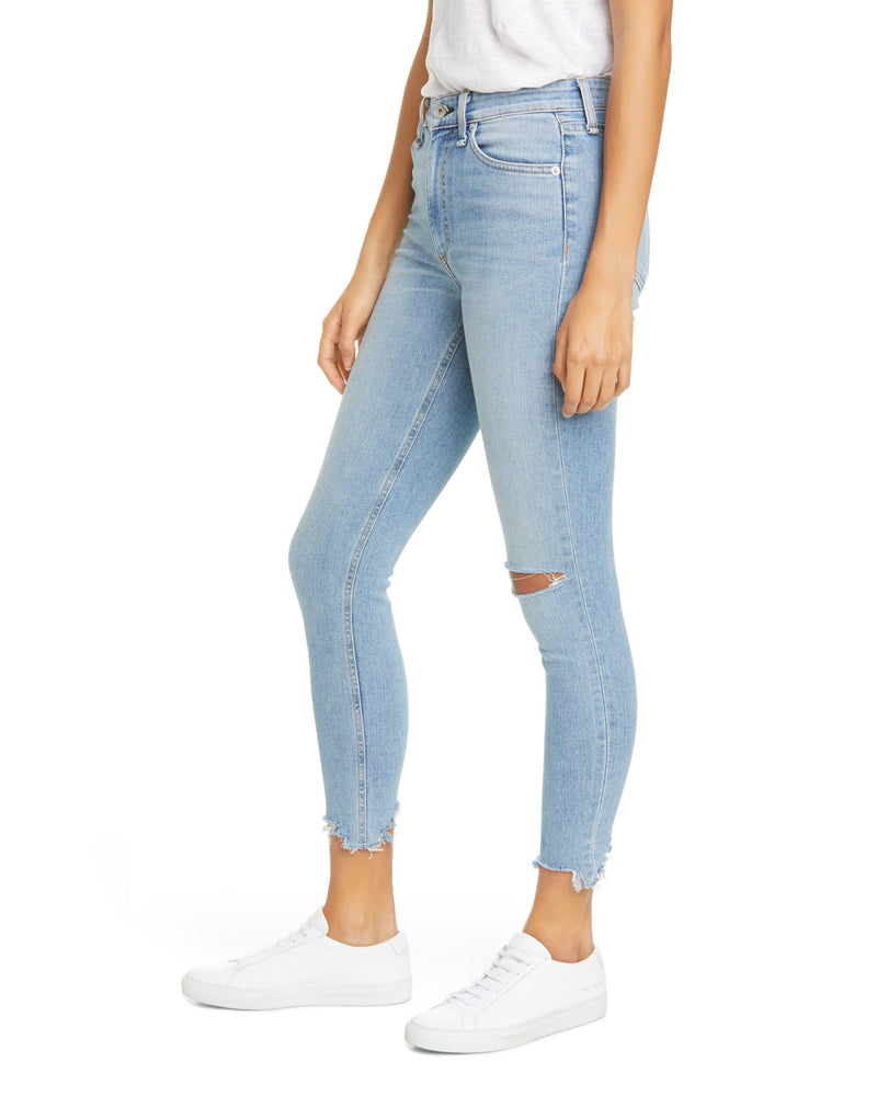 Rag & Bone Nina High Waist Shredded Ankle Skinny Jeans
