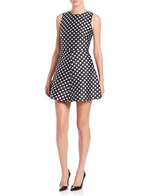 RED Valentino Black and White Polka Dot Shift Dress