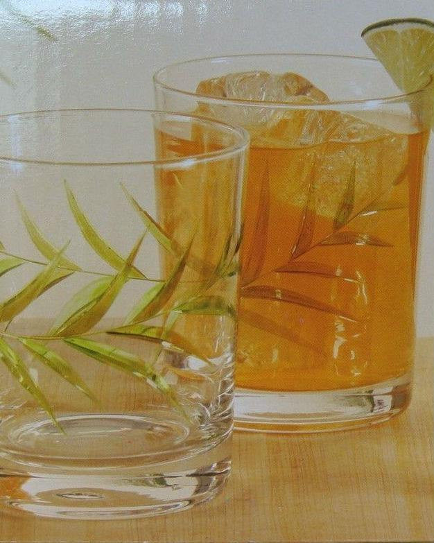 Gibson Palm Court 14oz Double Old Fashioned Green Palm Glasses Set of 4-GIBSON-Fashionbarn shop