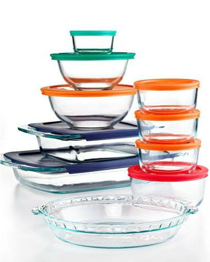 Pyrex 19 Piece Bake, Store and Prep Set with Colored Lids-PYREX-Fashionbarn shop