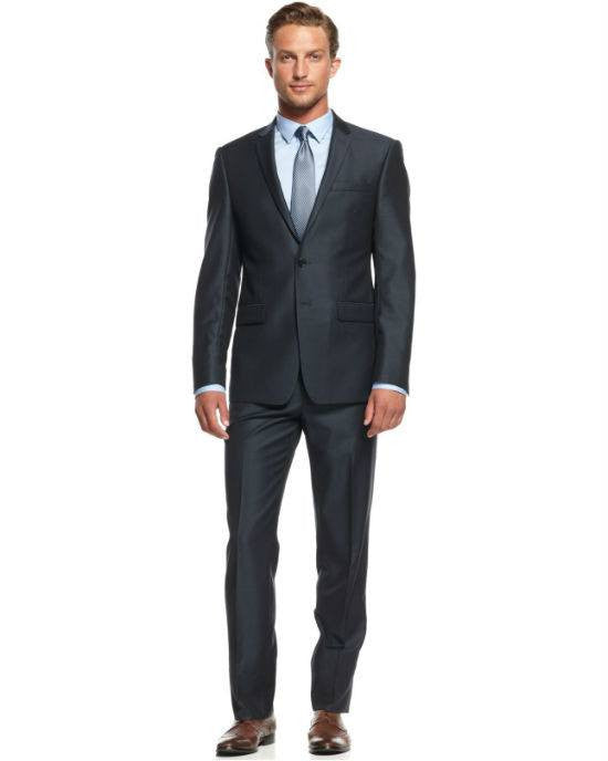 DKNY Slim-Fit Blue Solid Sharkskin 2 Piece Suit-DKNY-Fashionbarn shop