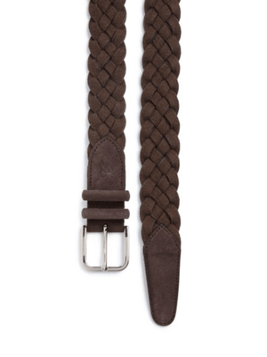 CANALI Braided Leather & Cotton Belt