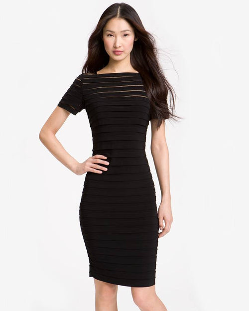 ADRIANNA PAPELL Illusion Bodice Pleated Jersey Sheath Dress-ADRIANNA PAPELL-Fashionbarn shop