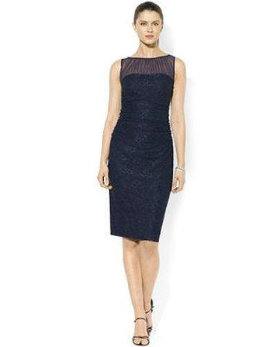 American Living Sleeveless Lace Ruched Illusion Dress-AMERICAN LIVING-Fashionbarn shop