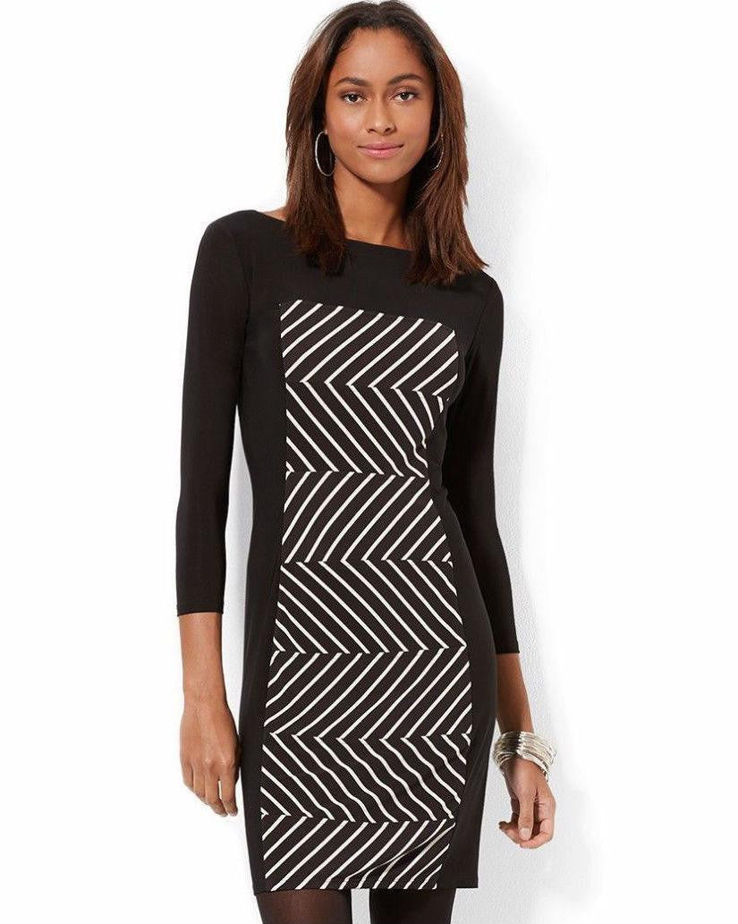 American Living Striped-panel Sheath Dress Blackivory-AMERICAN LIVING-Fashionbarn shop