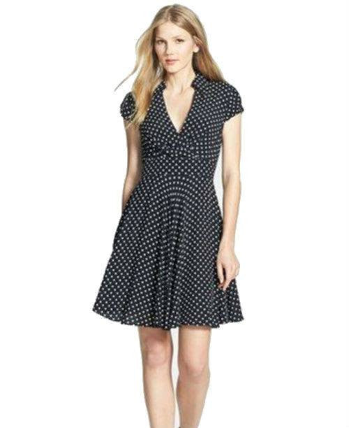 Betsey Johnson Polka-Dot Faux-Wrap Dress-BETSEY JOHNSON-Fashionbarn shop