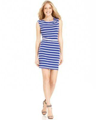 CALVIN KLEIN DRESS SLEEVELESS BELTED STRIPE BLUE 6-CALVIN KLEIN-Fashionbarn shop