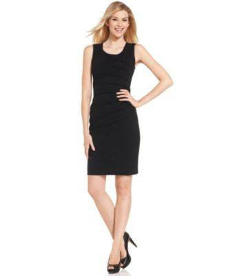 CALVIN KLEIN PETITE DRESS, SLEEVELESS SCOOP BLACK 12P-CALVIN KLEIN-Fashionbarn shop