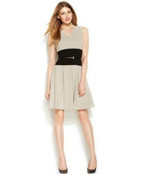 Calvin Klein Sleeveless Colorblock Belted Dress-CALVIN KLEIN-Fashionbarn shop