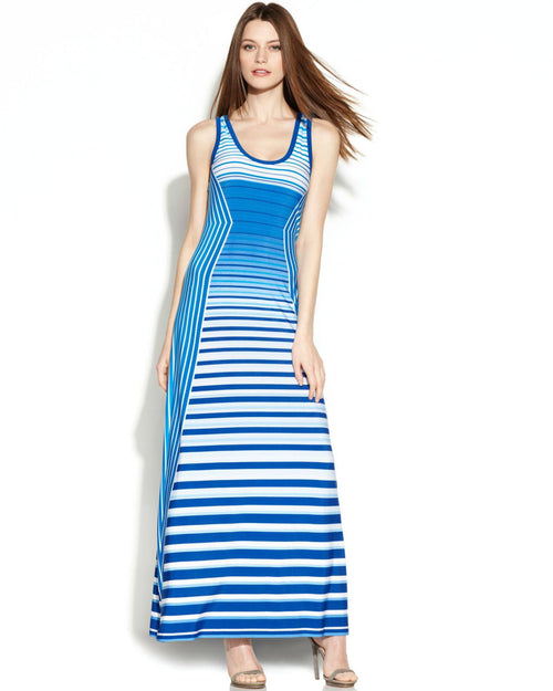 Calvin Klein Sleeveless Stripe-Panel Maxi Dress-CALVIN KLEIN-Fashionbarn shop